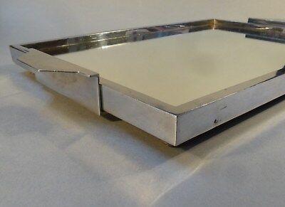 Original Art Deco Servier Tablett Metall Chrom Spiegel groß 46cm x 27cm um 1930 4