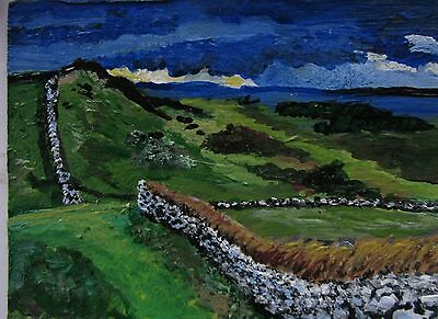 """A444 Original Acrylic Art Aceo Painting By Ljh One-Of-A-Kind """"Ireland Landscape"""" 11"""