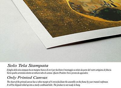 Quadro Klimt IL Bacio Stampa su Tela Canvas Vernice Pennellate Effetto Dipinto 3