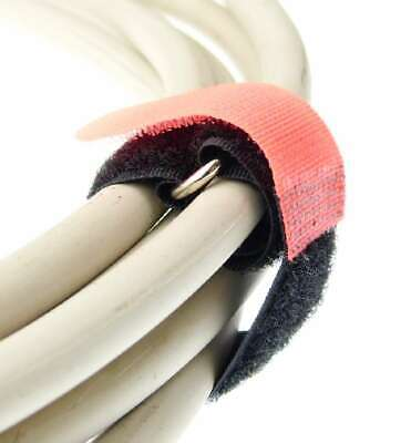 30 Klett Kabelbinder 200 x 20 mm rot Kabelklettband Kabelklett Klettband mit Öse