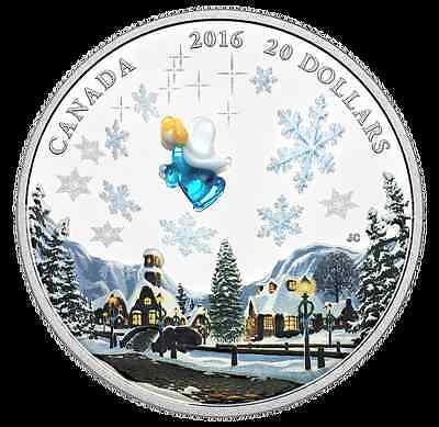 2016 Canada 1 oz Fine Silver Coin, Venetian Murano Glass, Angel, No SaleTax 2