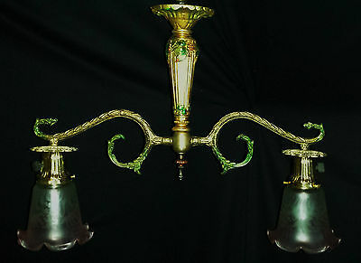 VINTAGE FRANCE BILLIARD STYLE CEILING CHANDELIER FIXTURE VIANNE GLASS SHADE 50's 5