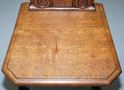 Rare 19Th Century Black Forrest Carved Hall Chair Hand Carved Hawk Bobbin Turned 6