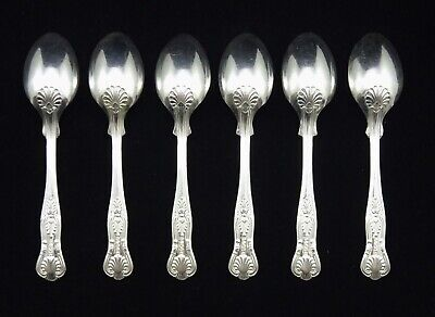 "6 Heavy Vintage Sheffield Epns A1 Silver Plated Kings Pattern 5.25"" Tea Spoons 3"