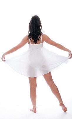 Bianco Luccicanti Paillettes Corto Lirico Abito Contemporaneo Balletto Danza 5