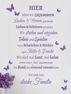 familie spruch schmetterling wohnzimmer flur wandspruch wandaufkleber wandtattoo eur 20 95. Black Bedroom Furniture Sets. Home Design Ideas