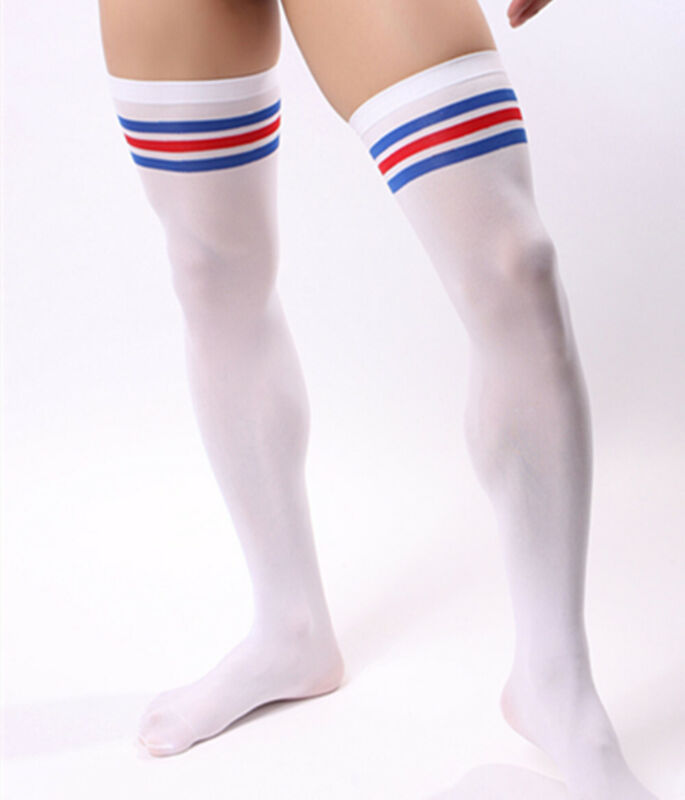 Men Soccer Thigh Stocks High Stockings Velvet Sport Striped Long Socks NEW HOT 10