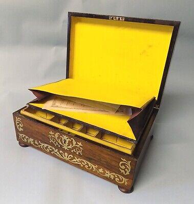 Antique Regency Rosewood Sewing Box. Brass Inlays. Original. Genuine. 9