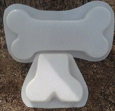 Dog bone bench mold heavy duty poly plastic set 1 dog  and 1 leg mold