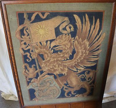 Antique Oak Fireplace Screen Insert - Tapestry Insert - 3