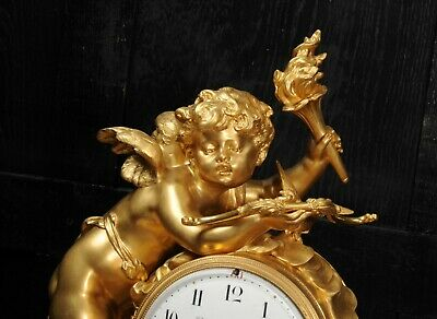 Superb Antique French Ormolu And White Marble Clock - Cupid 10