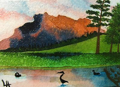 """A444 Original Acrylic Art Aceo Painting By Ljh One-Of-A-Kind """"Ireland Landscape"""" 7"""