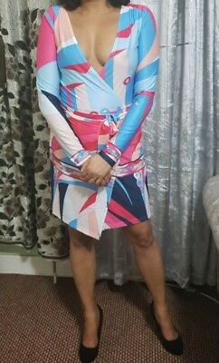 Women/'s Wrap Short Micro Mini Dress Girls Ladies Printed Flattering Club Party