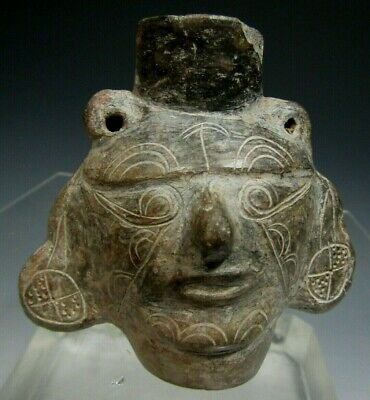 Pre Columbian Peru Lambayeque Blackware Miniature Portrait Head Vessel ca 900 AD 8