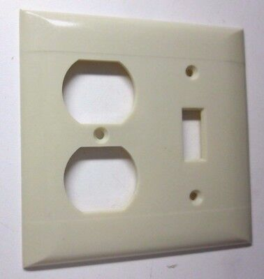 Sierra 2 Gang Combo Switch Outlet Wall Plate Cover Bakelite Beige Lines Vintage 2