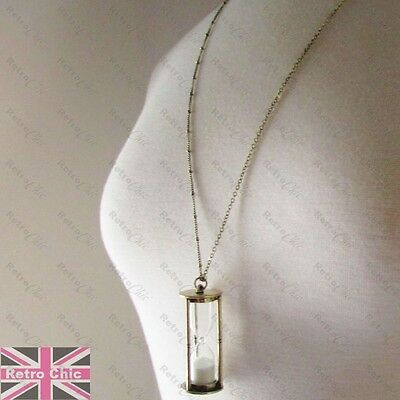 LARGE HOURGLASS pendant VINTAGE GOLD fashion SAND TIMER GLASS VIAL long NECKLACE