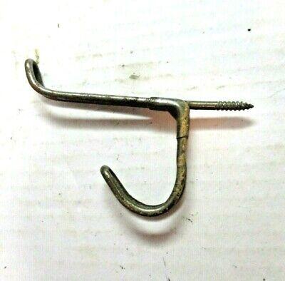"1 Antique Steel Wire Coat Hanger Primitive Double Hook 3"" Projection Installed 4"