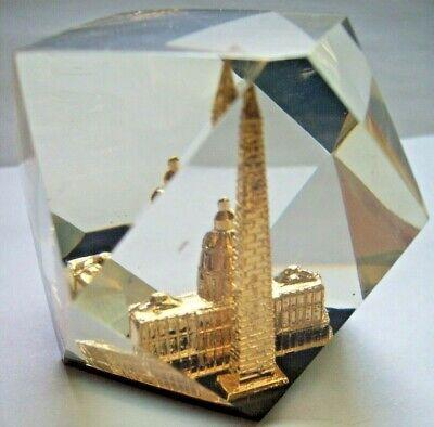 Washington DC Capitol+ Monument Vtg Souvenir Paperweight Faceted Lucite Acrylic 3