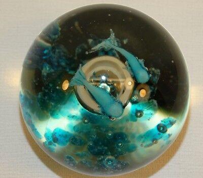 Beautiful Studio Art Glass Paperweight Aquarium 2 Blue Fish Large Bubble Blue 6