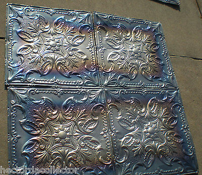 Antique Victorian Ceiling Tin Tile Gorgeous Iridescent Quatrefoil Flower Chic 3