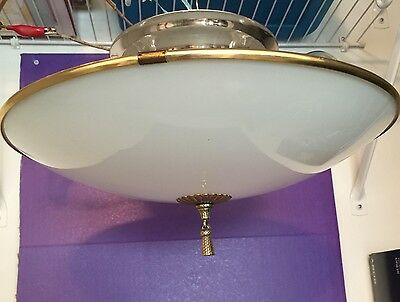 Wired Mid Century Fixture With 3 Sockets And White Glass Shade W/ Finial 4