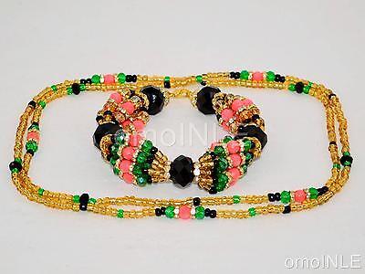 Oshun Ibu Kole 2 Ilde Santeria Ifa Orisha Bracelet & Collar Idde Mazo Glass Bead