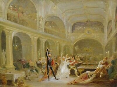 Unusual 18th 19th Century Skeleton Devil Demon At The Banquet Antique Painting 2