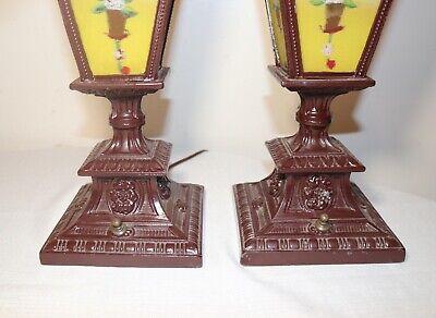pair of antique vintage ornate reverse painted glass metal table boudoir lamps 6