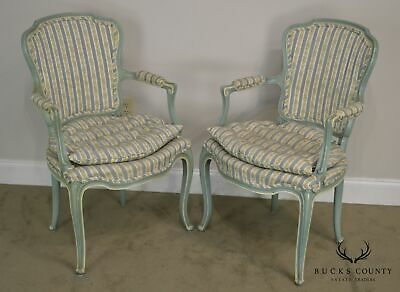 French Louis XV Style Vintage 1960's Custom Painted Pair Armchairs 2