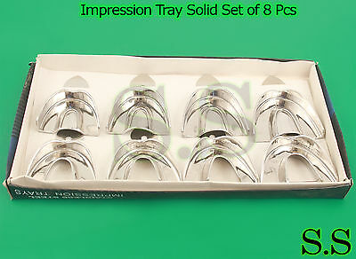 3 Set of 8 Impression Tray Solid - Stainless Steel Kit- New 2