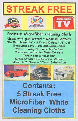 1st Class Mail Made in Germany! 5 Streak Free MicroFiber Cleaning Cloths FREE