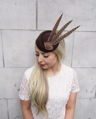 Brown Bronze Pheasant Feather Pillbox Hat Hair Fascinator Races Clip Vtg 3918 3