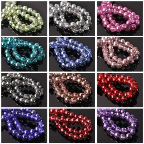 New Half Clear & Plated Colors Round Glass Loose Spacer Beads Lots 4mm 6mm 8mm 4
