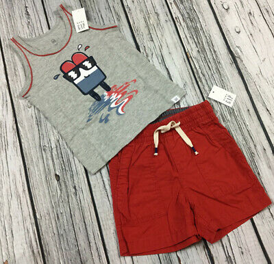 Baby Gap Boys 12-18 Months Popsicle Tank Top Shirt /& Red Shorts Nwt