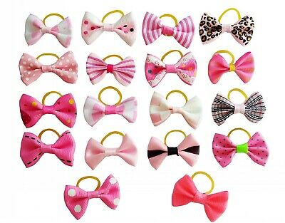 20Pc Mixed Hair Bows W/Rubber Bands For Small Dog Cat Grooming Bowknot Accessory 5