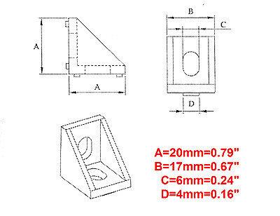 Aluminum T-slot 20x20 profile 90 deg small corner connector bracket, 8-set 6