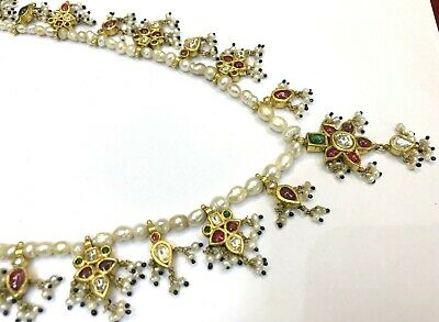 Vintage antique 20K Gold jewelry Diamond Polki Ruby Emerald Pearl Necklace 4