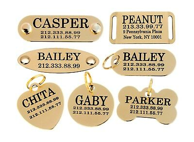 Dog ID Tag Personalized Custom Name Tags Engraving Nameplate Puppy Cat Brass 3