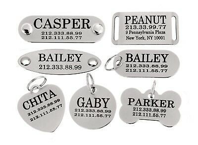 Dog ID Tag Personalized Custom Name Tags Engraving Nameplate Puppy Cat Brass 2