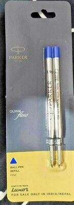 3X Parker Quink Flow Ball Point Pen BP Refill Refills Fine Nib Blue Ink 2