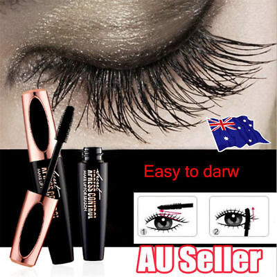 Black 4D Silk Fiber Eyelash Mascara Extension Makeup Waterproof Kits Eye Lashes 2