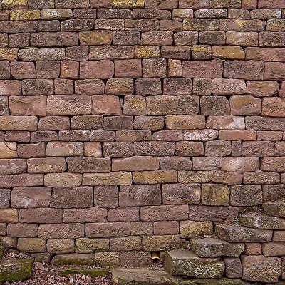BUNTSANDSTEIN NATURSTEINMAUER Trockenmauer Sichtschutz Garten Mauer ...