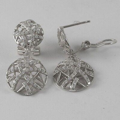 Rhodium Plated Sterling Silver Crisscross Circle CZ Womens Dangle Earrings 2