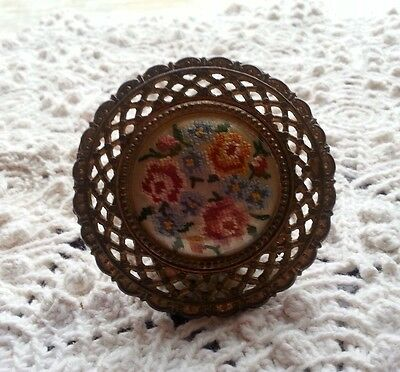 Large Embroidered Antique Hardware DrawerPull Circa 1908 Handstitched Embroidery 4