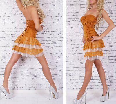 SeXy Damen Girly Bandeau Volant Spitze Mini Kleid Corsage Dress XS/S senf-gelb 3