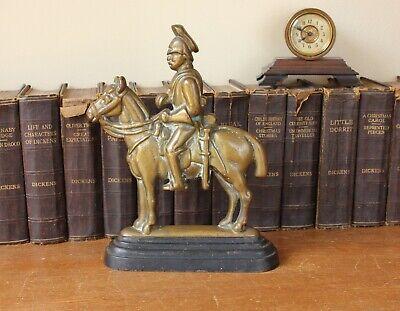 Vintage Soldier & Horse Door Stop Porter. Antique Brass Doorstop Figure Ornament 12