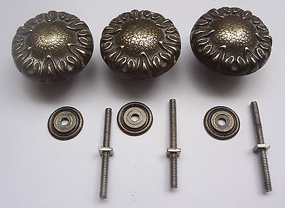 Lot 3 Vintage Solid Brass Pull handles Knobs 1 3/4'' + Backplates  Free Shipping 7