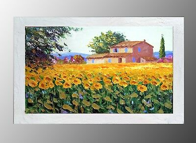 QUADRO MODERNO ASTRATTO Dipinto Olio Su Tela Paesaggio Toscana Girasoli  Casolare