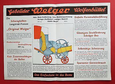 Prospekt + Blatt von WELGER Wolfenbüttel 1937 Schwingkolben Pressen ( F16402