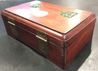 Chinese Rosewood Box with Jade Pieces on Top 4